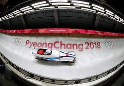 South Korea's Yunjong Won and Youngwoo Seo during day nine of the PyeongChang 2018 Winter Olympic Games in South Korea.