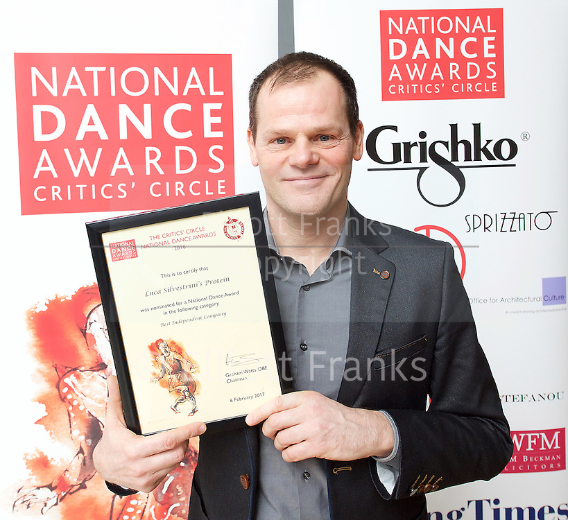 The Critics' Circle National Dance Awards 2016 <br /> at the Lilian Baylis Studio, Sadler's Wells, London, Great Britain <br /> <br /> 6th February 2017 <br /> <br /> <br /> Luca Silvestrini <br /> Artistic Director<br /> Luca Silvestrini&rsquo;s Protein <br /> <br /> Photograph by Elliott Franks <br /> Image licensed to Elliott Franks Photography Services
