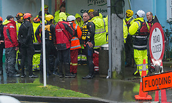 Emergency services, Burnbrae Street, Beckenham after flooding from the Heathcote River, Christchurch, New Zealand, Saturday, July 22, 2017. Credit:  SNPA / David Alexander -NO ARCHIVING-