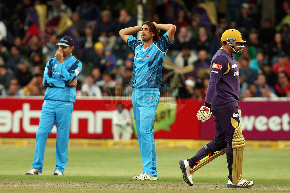 David Wiese shows his disappointment after Jacques Kallis was dropped during match 16 of the Karbonn Smart CLT20 South Africa between The Kolkata Knight Riders and the Titans held at Newlands Stadium in Cape Town, South Africa on the 21st October 2012. Photo by Jacques Rossouw/SPORTZPICS/CLT20