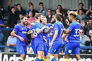 AFC Wimbledon Forward Cody McDonald (10) celebrates his goal during the Pre-Season Friendly match between AFC Wimbledon and Watford at the Cherry Red Records Stadium, Kingston, England on 15 July 2017. Photo by Jon Bromley.