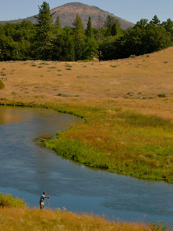 A lucky fly fisherman has the run to himself on Hat Creek in northern California.
