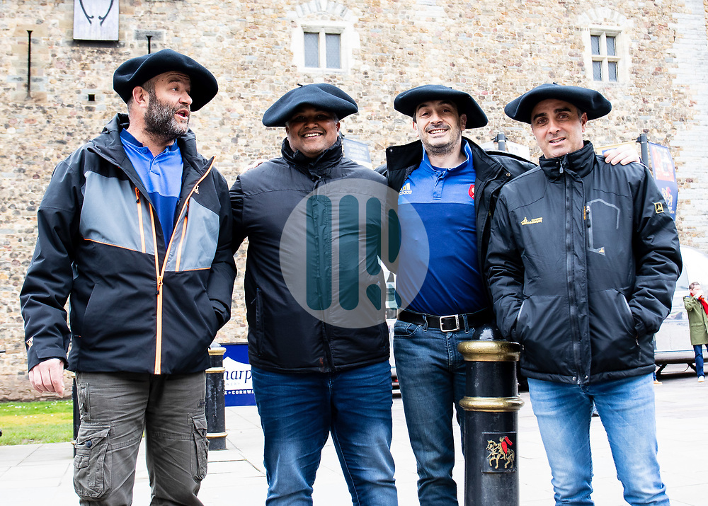 French Rugby fans outside of the castle enjoying the pre match atmosphere<br /> <br /> Photographer Simon King/Replay Images<br /> <br /> Six Nations Round 5 - Wales v Ireland - Saturday 16th March 2019 - Principality Stadium - Cardiff<br /> <br /> World Copyright © Replay Images . All rights reserved. info@replayimages.co.uk - http://replayimages.co.uk