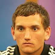 New Zealand player Aaron Cruden during a press conference in Auckland at the IRB Rugby World Cup tournament, Auckland, New Zealand, 18th October 2011. Photo Tim Clayton...
