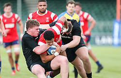 Deago Bailey of Bristol Bears U18 drives towards the try line but is tackled - Mandatory by-line: Arron Gent/JMP - 12/01/2020 - RUGBY - Allianz Park - London, England - Saracens U18 v Bristol Bears U18 - Premiership U18 Academy