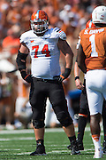 AUSTIN, TX - SEPTEMBER 26:  Michael Wilson #74 of the Oklahoma State Cowboys lines up against the Texas Longhorns on September 26, 2015 at Darrell K Royal-Texas Memorial Stadium in Austin, Texas.  (Photo by Cooper Neill/Getty Images) *** Local Caption *** Michael Wilson