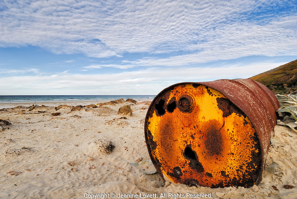 A pristine beach sits a rusted shell oil can.