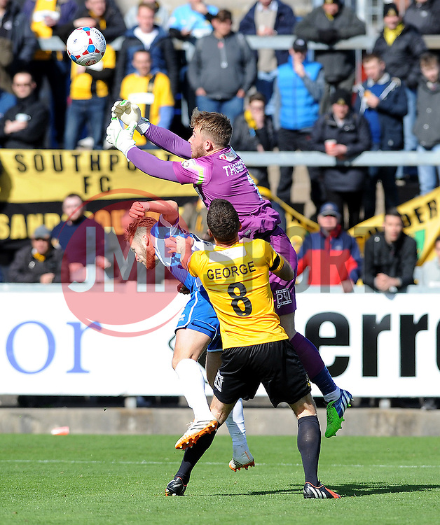 Southport's Tony Thompson  punches clear from Bristol Rovers' Matty Taylor - Photo mandatory by-line: Neil Brookman/JMP - Mobile: 07966 386802 - 11/04/2015 - SPORT - Football - Bristol - Memorial Stadium - Bristol Rovers v Southport - Vanarama Football Conference