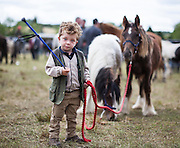 Three Year old Pat Mullane, Rathkeale, Co Limerick with his ponies at Spancilhill Horse Fair, Co Clare.