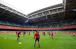 CARDIFF, WALES - Saturday, March 26, 2016: Wales' Chris Gunter and James Chester during a training session at the Millennium Stadium ahead of the International Friendly match against Ukraine. (Pic by David Rawcliffe/Propaganda)