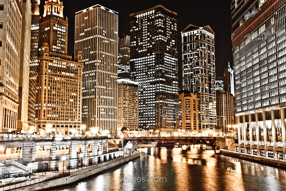 Chicago City Skyline at Night | Buy Canvas Prints, Large ...