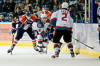 KELOWNA, CANADA, JANUARY 25: Shane McColgan #18 of the Kelowna Rockets makes the pass as the Kamloops Blazers visit the Kelowna Rockets on January 25, 2012 at Prospera Place in Kelowna, British Columbia, Canada (Photo by Marissa Baecker/Getty Images) *** Local Caption ***
