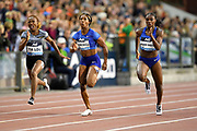Dina Asher-Smith (GBR), right, defeats Marie-Josee Ta Lou (CIV), left, Shelly-Ann Fraser-Pryce (JAM), center, to win the women's 100m in 10.88 during the IAAF Diamond League final at the 44th Memorial Van Damme at King Baudouin Stadium, Friday, Sept. 6, 2019, in Brussels, Belgium. Fraser-Pryce was second in 10.95 and Ta Lou was third in 11.09. (Jiro Mochizuki/Image of Sport)