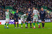 Christopher Jullien of Celtic FC talks to Kristoffer Ajer of Celtic FC ahead of a corner during the Europa League match between Celtic and FC Copenhagen at Celtic Park, Glasgow, Scotland on 27 February 2020.
