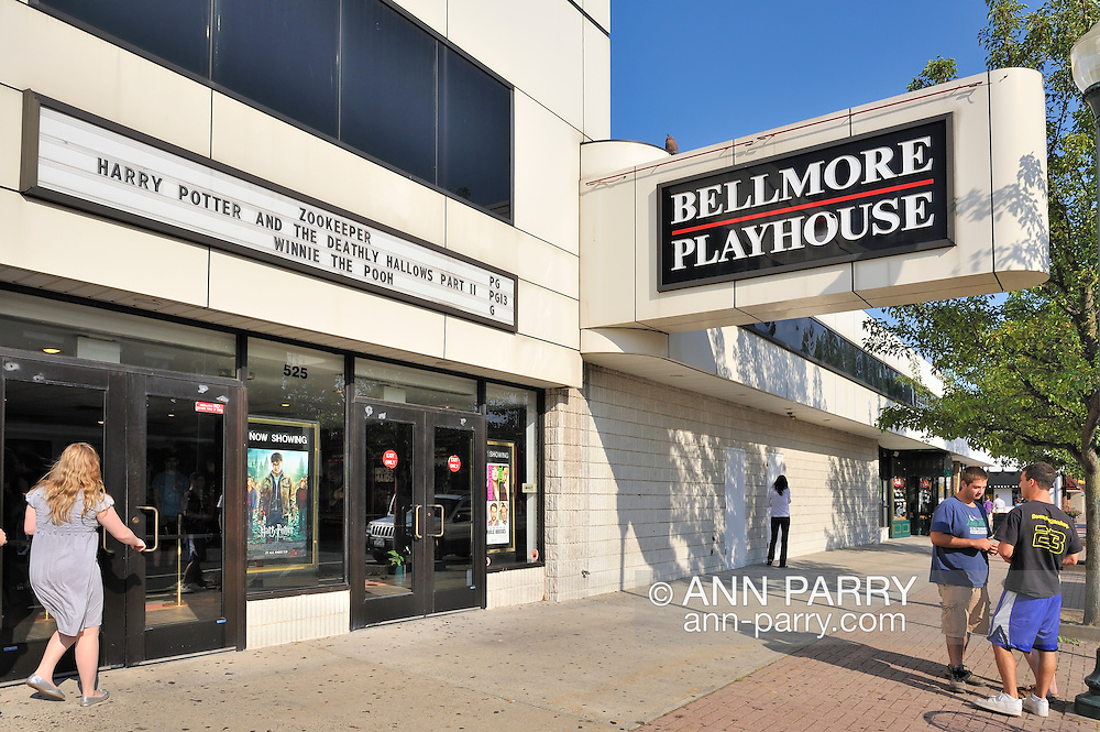 Movie theater in suburbs, Bellmore Playhouse, exterior with marquee, the day Harry Potter and the Deathly Hallows Part 2 opened, on Long Island, New York, USA, July 15, 2011.