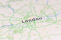 Closeup of London city map on the screen of a GPS device, Apple iPhone maps app