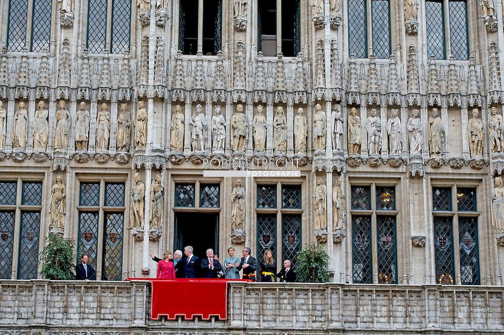 8-3- 2016 BRUSSELS - oachim Gauck and his wife Daniela Schadt to Belgium king Filip and queen mathilde at the CITY HALL BRUSSELS , STATE VISIT OF THE PRESIDENT OF THE FEDERAL REPUBLIC OF GERMANY Joachim Gauck and his wife Daniela Schadt to Belgium king Filip and queen mathilde . copyright robin utrecht<br /> staatsbezoek duitsland aan belgie <br /> BRUSSEL - Joachim Gauck en zijn vrouw Daniela Schadt naar Belgi&euml; koning Filip en Mathilde koningin tijdens de welkomstceremonie op het Paleizenplein STAAT BEZOEK VAN DE PRESIDENT VAN DE BONDSREPUBLIEK DUITSLAND Joachim Gauck en zijn vrouw Daniela Schadt naar Belgi&euml; Filip koning en koningin Mathilde. auteursrechten robin utrecht
