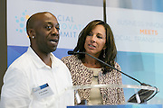 "Dion Drew, Lead Operator at Greyston Bakery gives an emotional testimonial to the success of the program during ""REVIVING A COMMUNITY ONE BROWNIE AT A TIME."" at the Social Innovation Summit 2014 presented by Landmark Ventures held at JPMorgan Chase in New York. (Photo: JeffreyHolmes.com)"