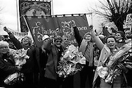 Five women leave office buildings at Markham Main Colliery Armthorpe they occupied in a protest against proposed pit closures. 13 December 1992