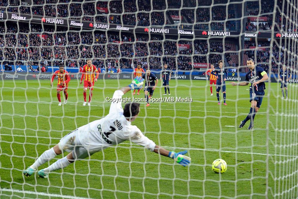 But sur Penalty de Zlatan IBRAHIMOVIC / Rudy RIOU  - 07.03.2015 -   PSG / Lens -  28eme journee de Ligue 1 <br /> Photo : Andre Ferreira / Icon Sport