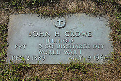 31 August 2017:   Veterans graves in Park Hill Cemetery in eastern McLean County.<br /> <br /> John H Crowe  Illinois  Private  3 Co Discharge DET  World War I  Dec 2 1889  May 19 1960