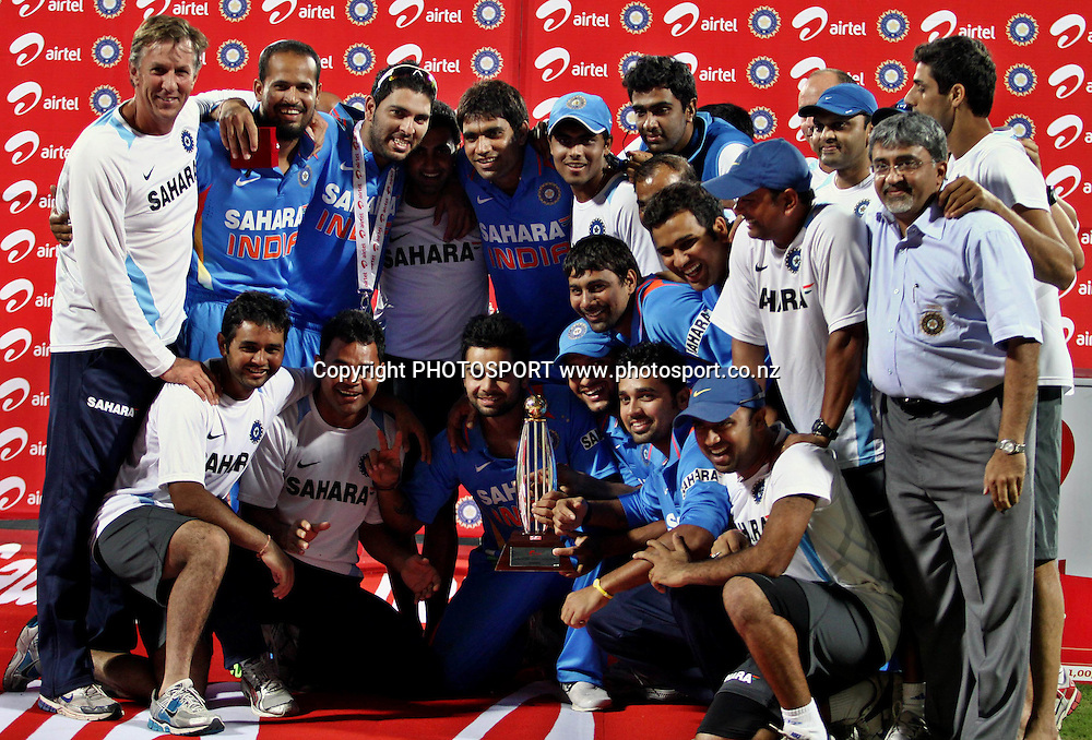 Indian cricketer After won the series against New Zealand during the India vs New Zealand 5th ODI Played at MA Chidambaram Stadium, Chepauk, Chennai, 10 December 2010 - day/night (50-over match)