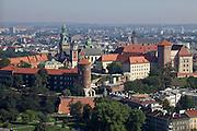 Poland, Krakow. Wawel (castle) seen from aboard the HiFlyer static balloon.