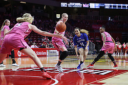 NORMAL, IL - February 10: Krystal Rice makes a pass that gets intercepted by Lexy Koudelka during a college women's basketball Play4Kay game between the ISU Redbirds and the Indiana State Sycamores on February 10 2019 at Redbird Arena in Normal, IL. (Photo by Alan Look)