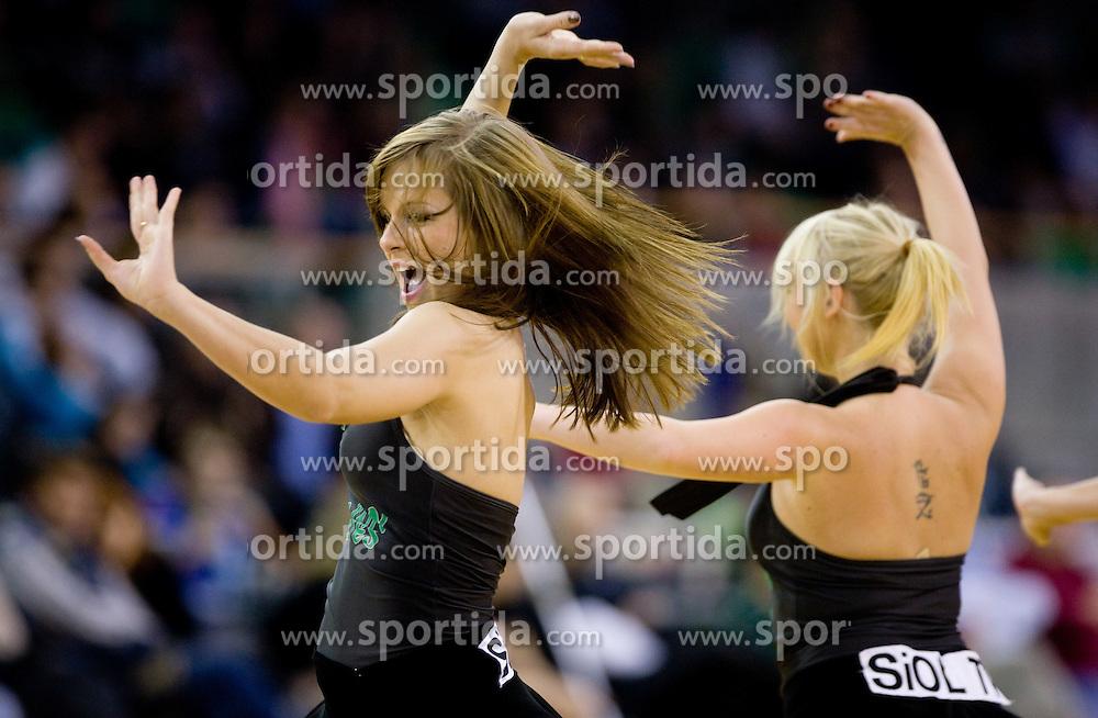 Cheerleaders Dragon Ladies at Euroleague basketball match between KK Union Olimpija, Ljubljana and CSKA Moscow, on January 7, 2010 in Arena Tivoli, Ljubljana, Slovenia. CSKA defeated Olimpija 80:77 after overtime. (Photo by Vid Ponikvar / Sportida)