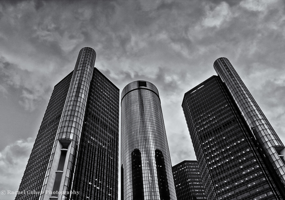 &quot;RenCen in Siver&quot; B&amp;W<br />
