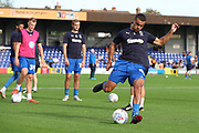 AFC Wimbledon striker Kweshi Appiah (9) warming up during the EFL Sky Bet League 1 match between AFC Wimbledon and Portsmouth at the Cherry Red Records Stadium, Kingston, England on 13 October 2018.