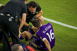 August 4, 2018 - Orlando, FL, U.S. - ORLANDO, FL - AUGUST 04: Orlando City midfielder Sacha Kljestan (16) is tended to by the medical staff during the soccer match between the Orlando City Lions and the New England Revolution on August 4, 2018 at Orlando City Stadium in Orlando FL. (Photo by Joe Petro/Icon Sportswire) (Credit Image: © Joe Petro/Icon SMI via ZUMA Press)