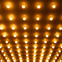 Picture of out of focus theater lights. This row style of lighting is frequently known as casino lights or Broadway lights. Image is high resolution and is available as a stock photo, poster or print.