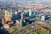 Nederland, Noord-Holland, Amsterdam, 11-12-2013; zicht op de Zuidas met in het midden de A10 met hoofdkantoor ABN-AMRO. Verder in beeld de woontorens Symphony 1 en 2 (onderdeel Gershwin), de Vinoly-toren en Ito-toren (onderdeel Mahler4). Aan de andere kant van de ringweg Zuid Station Zuid-WTC, World Trade Centre (WTC)<br /> Zuid-as, 'South axis', financial center in the South of Amsterdam, with headquarters of former ABN AMRO. Amsterdam equivalent of 'the City', financial district. <br /> luchtfoto (toeslag op standaard tarieven);<br /> aerial photo (additional fee required);<br /> copyright foto/photo Siebe Swart.