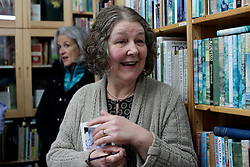 UK ENGLAND FOWEY 19FEB15 - Ann Willmore, proprietor of Bookends of Fowey, Cornwall, England, a specialist bookshop on literature by famous English novelist Daphne Du Maurier with biographer Tatiana De Rosnay. Fowey, a small fishing and harbour village was the living place of famous English writer Daphne Du Maurier and many of her novels are based here.<br /> <br /> jre/Photo by Jiri Rezac<br /> <br /> © Jiri Rezac 2015
