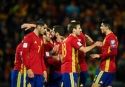 GRANADA, SPAIN - NOVEMBER 12:  Team of Spain celebrates after scoring during the FIFA 2018 World Cup Qualifier between Spain and FYR Macedonia at  on November 12, 2016 in Granada, .  (Photo by Aitor Alcalde Colomer/Getty Images)