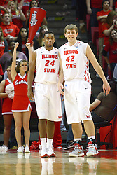 08 December 2012:  Zeke Upshaw and Jordan Threloff enjoy the last moments of the game during a Broncos free throw during an NCAA mens basketball game between the Western Michigan Broncos and the Illinois State Redbirds (Missouri Valley Conference) in Redbird Arena, Normal IL