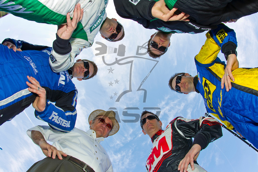 Daytona Beach, FL - Feb 22, 2012:  NASCAR team Roush Fenway Racing's annual photo day from Daytona International Speedway.  RFR celebrates its 25th Anniversary in 2012 and will feature the lineup of:  Matt Kenseth, Carl Edwards, Greg Biffle, Jack Roush, Ricky Stenhouse Jr. and Trevor Bayne.