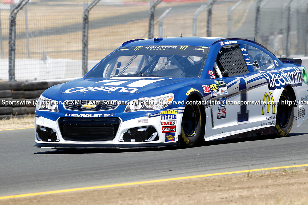 SONOMA, CA - JUNE 24: Jamie McMurray in the #1 Cessna Chevrolet rolls out of Turn 10 during Toyota/Save Mart 350 qualifying on June 24, 2017 at Sonoma Raceway in Sonoma, CA. (Photo by Larry Placido/Icon Sportswire)