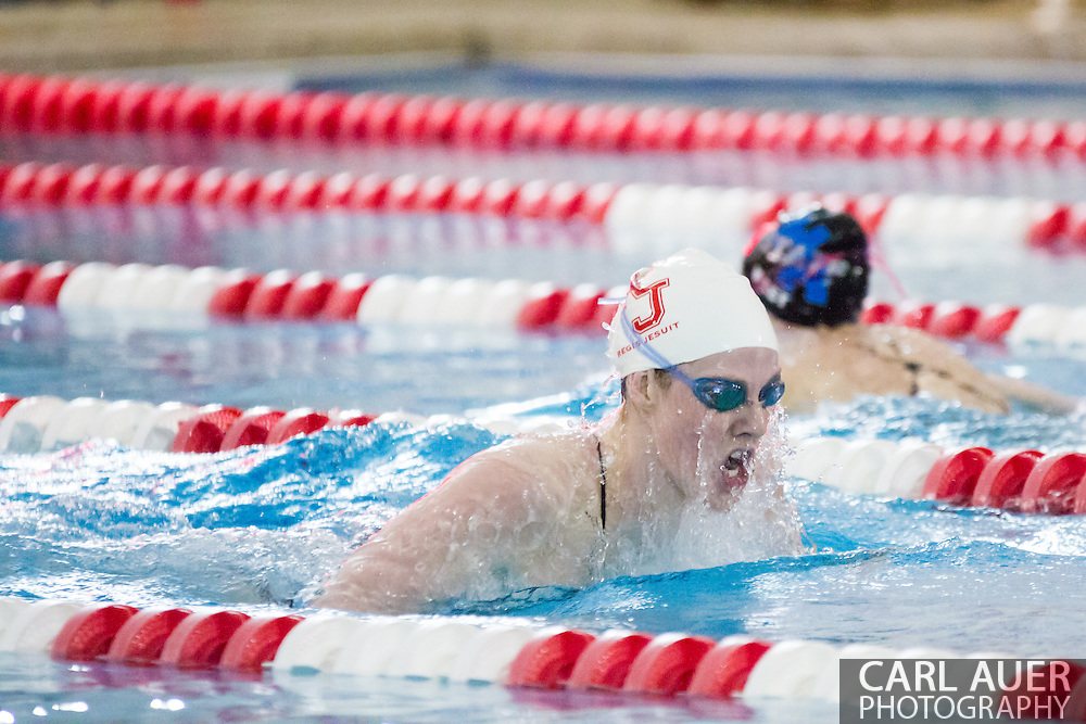 January 8, 2013: Olympic Gold Medalist and Regis Jesuit High School senior Missy Franklin swims the breast stroke in her return to the pool after the London Olympics during the swim meet against Highlands Ranch at Regis Jesuit High School.