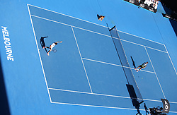 MELBOURNE, Jan. 22, 2018  Roger Federer (L) of Switzerland gestures to Marton Fucsovics of Hungary during their men's singles fourth round match at Australian Open 2018 in Melbourne, Australia, Jan. 22, 2018. Roger Federer won 3-0. (Credit Image: © Bai Xuefei/Xinhua via ZUMA Wire)
