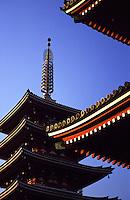 Tall pagodas in the heart of downtown Asakusa, Tokyo on the island of Honshuu, Japan