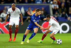 Marc Albrighton of Leicester City goes past Pablo Sarabia of Sevilla - Mandatory by-line: Robbie Stephenson/JMP - 14/03/2017 - FOOTBALL - King Power Stadium - Leicester, England - Leicester City v Sevilla - UEFA Champions League round of 16, second leg