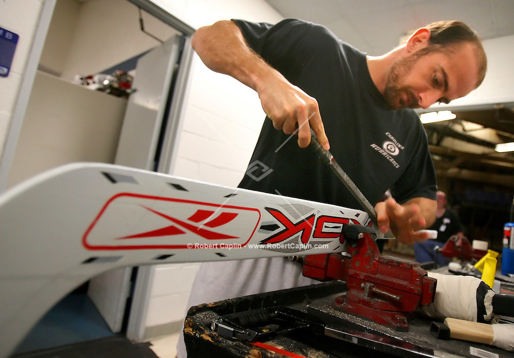 Martin Gerber prepares his hockey sticks prior to the NJ Devils vs Carolina Hurricanes match-up at the Meadowlands May 10, 2006. Robert Caplin For The New York Times