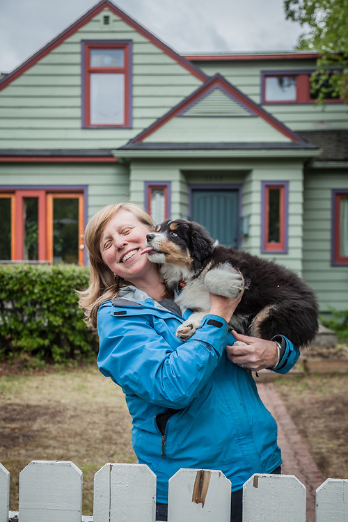 Neighbor Nancy Martin with her ten month old Auzie, Puck.  martin@acsalaska.net