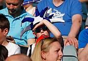 A young Rochdale fan with jesters hat during the EFL Sky Bet League 1 match between Rochdale and Charlton Athletic at Spotland, Rochdale, England on 5 May 2018. Picture by Paul Thompson.