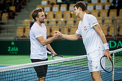 Tom Kocevar Desman of Slovenia and Hubert Hurkacz of Poland  after playing singles during the Day 2 of Davis Cup 2018 Europe/Africa zone Group II between Slovenia and Poland, on February 4, 2018 in Arena Lukna, Maribor, Slovenia. Photo by Vid Ponikvar / Sportida