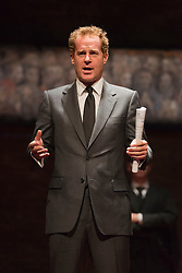 © Licensed to London News Pictures. 08/09/2014. London, England. Adam James as PM Mr Evans. King Charles III, a play in blank verse by Mike Bartlett and directed by Rupert Goold has now transferred from the Almeida to Wyndham's Theatre, London. With Tim Pigott-Smith as Charles. Photo credit: Bettina Strenske/LNP