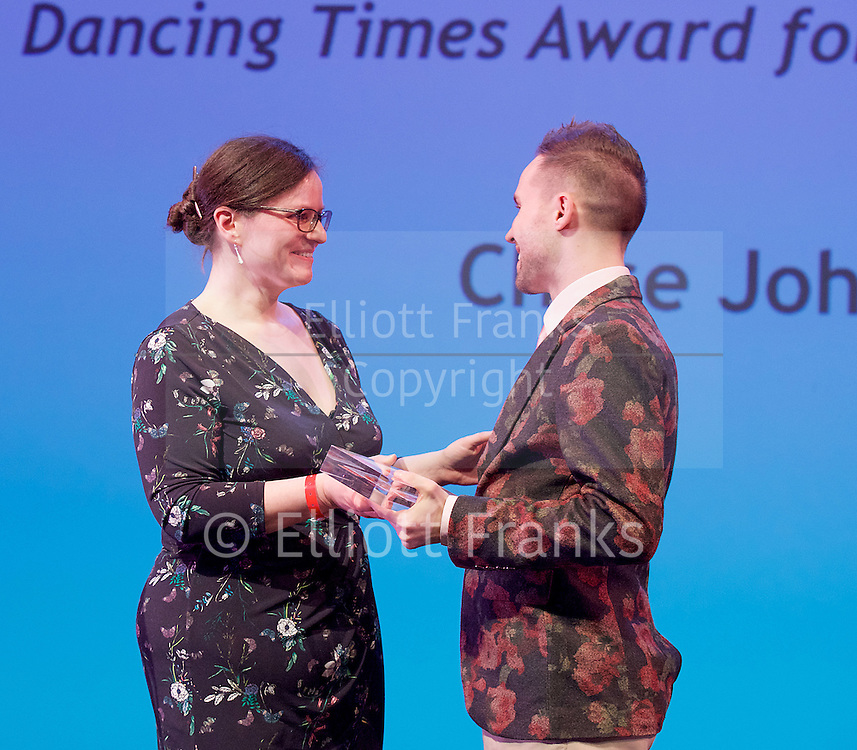 The Critics' Circle National Dance Awards 2016 <br /> at the Lilian Baylis Studio, Sadler's Wells, London, Great Britain <br /> <br /> 6th February 2017 <br /> Zoe Anderson with Chase Johnsey<br /> <br /> <br /> <br /> Photograph by Elliott Franks <br /> Image licensed to Elliott Franks Photography Services 5th January 2018 - News that on New Year's Day, the dancer shared a video on YouTube announcing his resignation from the all-male troupe Les Ballets Trockadero de Monte Carlo giving his reasons as the negative way he was treated by the company after announcing his intension to 'transition' (from male to female).