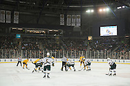 The teams face off during the men's hockey game between the Vermont Catamounts and the Quinnipiac Bobcats in the championship game of the Friendship Four hockey tournament at the SSE Arena on Saturday evening November 26, 2016 in Belfast, Ireland. (BRIAN JENKINS/for the FREE PRESS)